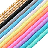 110Pcs Clay Beads Flat Round Polymer Clay Beaded with Alloy Beads & Spacer & Crystal Stretch Line for Jewelry Making Bracelet
