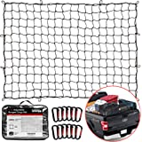 """TireTek Bungee Cargo Net for Pickup Truck Bed- 4' x 6' Stretches to 8' x 12'- Heavy Duty Small 4""""x4"""" Latex Bungee Net Mesh wi"""