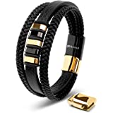 SERASAR | Premium Genuine Leather Bracelet [Glory] for Men in Black | Magnetic Stainless Steel Clasp in Silver and Gold | Exc