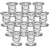 Lanttu Candlestick Holders Bulk,Glass Candle Holders Set Clear,Crystal Pillar Candle Holders for Wedding,Table Centerpiece,Ho