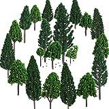 Bememo 22 Pieces Model Trees 1.18 - 6.29 inch Mixed Model Tree Train Trees Railroad Scenery Diorama Tree Architecture Trees f