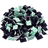 eBoot 100 Pieces Adhesive Cable Clips Wire Clips Cable Wire Management Wire Cable Holder Clamps Cable Tie Holder for Car, Off