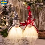 2 Pack Fun Light Up Christmas Gnome Grey Red Decoration Ornament Nisse Swedish Home Decor Party Display