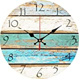 """Grazing 12"""" Vintage Arabic Numerals,Shabby Beach, Weathered Beachy Boards Design,Ocean Colors Old Paint Boards Printed Image,"""
