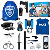 Police Officer Role Play Kit - 15 Piece Policeman Pretend Play Set - Hat Vest Badge Handcuffs Binoculars - Cop Costume Access