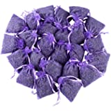 24 Small Purple Sachets Craft Bag with Dried French Lavender Flower Buds - Lavender Sachets for Wedding Toss, Home Fragrance