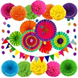 ZERODECO Party Decoration, 21 Pcs Multi-color Hanging Paper Fans, Pom Poms Flowers, Garlands String Polka Dot and Triangle Bu