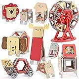 AOMIKS マグネットブロック 森の動物 積み木 磁気おもちゃ マグネットおもちゃ 磁石ブロック 子供 知育玩具 モデルDIY 女の子 男の子 誕生日 入園 ギフト 出産祝い クリスマスプレゼント 贈り物 収納ケース付き (109PCS)