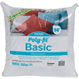 """Fairfield Poly-Fil Basic Decorative Throw Pillows Inserts (2 Pack), 14"""" x 14"""", White"""