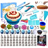 Cake Decorating Supplies Kit 280 PCS Baking Set for Beginners with Cake Turntable Stand Rotating Turntable,Russian Piping Tip