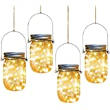 Solar Mason Jar Lights,4 Pack 30 Led Starry Fairy String Hanging Jar Lights,Solar Lanterns for Outdoor Patio Party Garden Wed