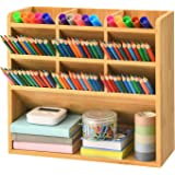 Marbrasse Bamboo Art Supply Desk Organizer, Pen Holder with 9 Compartments, Pen Organizer for Desk, Office Supplies Desktop S