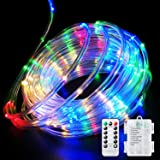 Fitybow 40FT 120 LED Rope Lights,Battery Operated String Lights 8 Modes Fairy Lights with Remote Timer,Outdoor Decoration Lig