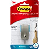 Command Bath Hook, Small, Satin Nickel, 1-Hook, 2-Small Water-Resistant Strips (BATH33-SN-ES)