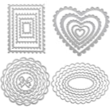 4 Pieces Metal Die Cuts in Rectangle, Heart, Round and Oval Shape Metal Cutting Stencil Embossing Dies Template Metal Cutting