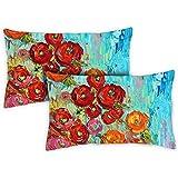 Toland Home Garden 771216 Fabulous Flowers 12 x 19 Inch Indoor/Outdoor, Pillow, Case (2-Pack)