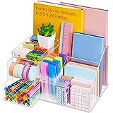 Vitviti Acrylic Desk Organizer, Clear Pencil Organizer for Desk, Multifunctional Desktop Stationary Pen Organizer, 8 Compartm
