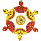 ARTISENIA Diwali Rangoli Indian 7 Pieces Red & Yellow Diya Rangoli Floor Table Decoration Studded Stones Sequins Traditional