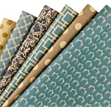 RUSPEPA Reversible Kraft Wrapping Paper Sheet - Navy Geometric Design Kraft Paper - 17.5 x 30 Inch - 6 Sheets
