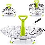 """Zulay Adjustable Vegetable Steamer Baskets For Cooking - Foldable Steamer Basket (5.1"""" to 9"""") - Expandable Vegetable Steamer"""