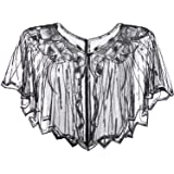 Women's 1920s Sequin Shawl Wrap Bridal Shawl Cover Up Beaded Evening Cape (Black Silver with Vertical Stripes)