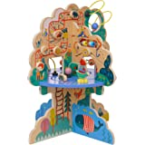 Manhattan Toy Playground Adventure Wooden Toddler Activity Center with Gliders, Abacus Track, Spinners, Spring Toys and Bead