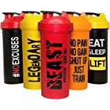 JEELA SPORTS Protein Shaker Bottles 5 Pack - 24 OZ- Cups with Shakers Ball - Shake Bottle set - BPA free cup - Powder Mixer f