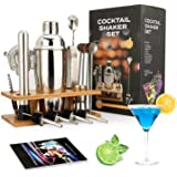 Cocktail Shaker Making Set: 16pcs Bartender Kit with Eco Bamboo Stand - Stainless Steel Bar Tool Set Scandinavian Style Home