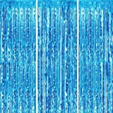 FECEDY 3pcs 3.2ft x 6.6ft Light Blue Metallic Tinsel Foil Fringe Curtains Photo Booth Props for Birthday Wedding Engagement B