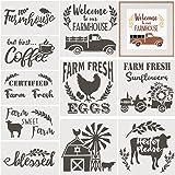 10 Pieces Farmhouse Stencils Farm Reusable Stencils Farm Theme Painting Stencils for Scrapbooking Drawing Tracing DIY Furnitu