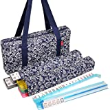 New! - American Mahjong Set by Linda Li8482; - 166 Premium White Tiles, 4 All-in-One Rack/Pushers, Blue Paisley Soft Bag – Cl