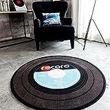 """Carvapet Retro Music Record LP Vinyl Black CD Non-Slip Creative Design Round Area Rug, Blue/Grey, 2'7"""" Diameter"""