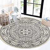 HEBE Cotton Round Area Rug 4 Ft Machine Washable Bohemian Cotton Round Rug with Tassels Woven Throw Rug Floor Mat Carpet for