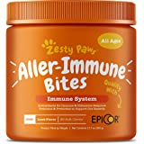 Zesty Paws Allergy Immune Supplement for Dogs Lamb- with Omega 3 Wild Alaskan Salmon Fish Oil & Epicor + Digestive Prebiotics