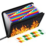 Fireproof File Organizer, Expanding File Folder Important Document Fireproof Bags,Water Resistant Fire Safe Storage Pouch wit