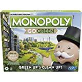 Monopoly: Go Green Edition Game Made With 100% Recycled Paper Parts and Plant-Based Plastic Tokens, Board Game for Families A