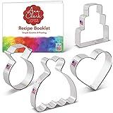 Ann Clark Cookie Cutters Wedding Cookie Cutter Set with Recipe Book - 4 Piece - Wedding Dress, Wedding Cake, Diamond Ring and