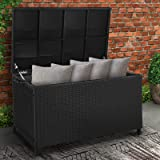 Gardeon Outdoor Storage Box Waterproof Lockable Plastic Deck Box with Wheels Handle(320L, Black-Wicker)