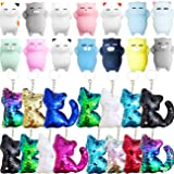 Danirora Cat Party Favors, [30 Pack]Cat Sequin Keychains and Mochi Toys for Kids Birthday Party Supplies Goodie Bag Fillers P