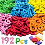 192 Pcs Magnetic Letters Numbers 9 Color(With Pattern Blocks,Symbols) Foam Set, Alphabet Magnets Gift for Preschool Kids Chil