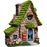 ASAWASA Flocked Double House Solar Garden Statues and Sculptures Outdoor Decor,Garden Figurines with Solar Powered Lights for