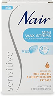 Nair Sensitive Mini Hair Remover Wax Strips, Pack of 20