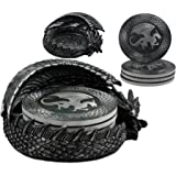 """Ebros Hour Of The Dragon Coaster Set 6.5""""Long Figurine Holder And Four Round Dragon Silhouette Detailed Coasters"""