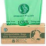 Greener Walker 25% Extra Thick Compostable Trash Bags, 1.6 Gallon-120Bags, ASTM D6400 BPI Biodegradable Food Kitchen Waste Ba