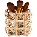 Feyarl Crystal Gold Makeup Brush Holder Sparkly Cosmetic Tools Pen Pencil Holder Storage Organizer Container