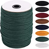 Deep Green Macrame Cord 3mm x 270yards, Colored Macrame Rope, 3 Strand Twisted Cotton Rope Macrame Yarn, Colorful Cotton Craf