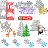 10 Pieces Christmas Metal Die Cuts Snowflake Deer Bells Snowman Merry Christmas Pattern Christmas Cutting Dies for DIY Scrapb