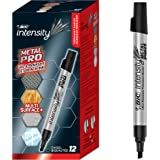 BIC Intensity Permanent Metal Pro Marker - Pack of 12 Markers – Chisel Tip, Fade and Water Resistant, Quick Dry Ink for Any S