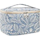 Travel Makeup Bag Large Cosmetic Bag Make up Case Organizer for Women and Girls (Large, Blue Leaf)