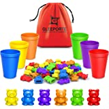 Rainbow Counting Bears with Matching Sorting Cups (67 Pcs Set) + Free Storage Bag | STEM Educational  Toddler | Montessori So